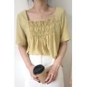 Hot Stylish Short Sleeve Square Neck Plain Pleated Chiffon Leisure T-Shirt