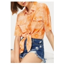 Women's Trendy Tie-dye Print Lapel Collar Short Sleeve Button Down Yellow Blouse Top