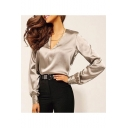 New Stylish Office Lady Simple Plain V- Neck Long Sleeve Leisure Blouse