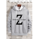 Mens Simple Fashion Letter ERMANAGLIDA ZNEGNE Printed Long Sleeve Casual Drawstring Hoodie