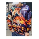 New Fashion Cat Dog Fire 3D Printed Round Neck Long Sleeve Purple Pullover Sweatshirts