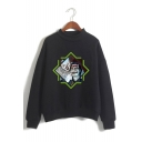 Trendy IT Clown Figure Pattern Mock Neck Long Sleeve Pullover Sweatshirt