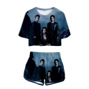 Popular Vampire Figure 3D Pattern Short Sleeve Crop Tee with Dolphin Shorts Two-Piece Set