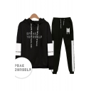 Popular Cool Letters SPEAK YOURSELF Print Patterns Long Sleeve Loose Hoodie with Sport Sweatpants Two Piece Set
