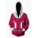 Hot Popular Comic 3D Printed Cosplay Costume Red Long Sleeve Unisex Zip Up Hoodie