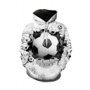 Creative Fashion Football 3D Printed Drawstring Hooded Long Sleeve Unisex Casual Loose Hoodie
