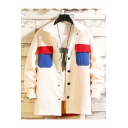 Mens New Trendy Plain Lapel Collar Long Sleeve Colorblock Pockets Detail Casual Workwear Jacket