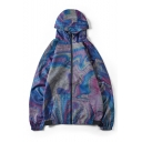 Mens New Trendy Rainbow Color Print Long Sleeve Zip Up Loose Blue Hooded Trench Jacket