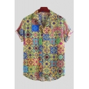 Mens Hot Stylish Ethnic Short Sleeve Button Down Tribal Printed Casual Shirt