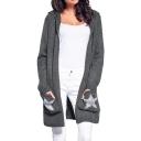 Trendy Plain Boxy Hoodie Long Sleeve Longline Cardigan with Star Print Pockets