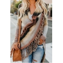 Unique Womens Print Tassel Hem Long Sleeve Asymmetrical Tunic Cardigan