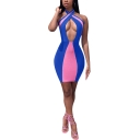 Women's Sexy Halter Neck Sleeveless Color Block Hollow Mini Bodycon Dress