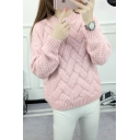 Womens Plain Special Patterns Cable Knit Round Neck Long Sleeve Sweater