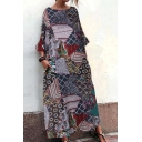 New Fashion Round Neck 3/4 Length Sleeve Pockets Loose National Style Maxi Shift Dress