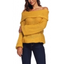 Ladies Sexy Plain Off the Shoulder Flared Sleeve Loose Knitted Sweater
