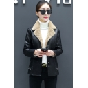 Metal Hollow Ring Cut Trim Notched Lapel Collar PU Short Zipper Aviator Shearling Jacket