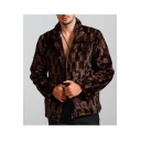 Men Fashionable Leisure Mink Print Stand Collar Long Sleeve Brown Fitted Fluffy Fleece Coat