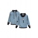 New Stylish Figure Printed Ripped Long Sleeve Button Down Hooded Denim Jacket Coat