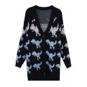 Lovely Dinosaurs Print V-Neck Long Sleeve Single Button Knitwear Cardigan