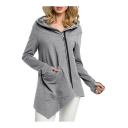Hot Popular Big Pocket Oblique Zipper Hooded Asymmetric Hem Plain Long Coat