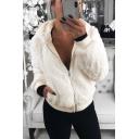 Winter Fashion Long Sleeve Rabbit Fur Zipper Short Hooded Coat with Pocket