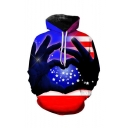New Stylish American Flag Heart 3D Printed Purple Loose Fit Long Sleeve Unisex Pullover Hoodie