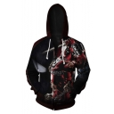 Hot Trendy Comic Character 3D Printed Black Long Sleeve Drawstring Zip Up Hoodie