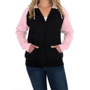 Basic Simple Color Block Zip Up Long Sleeve Pullover Hoodie with Pockets