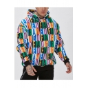 Hot Fashion Colorblocked Check Letter Printed Long Sleeve Casual Sports Pullover Hoodie