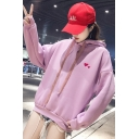 Girls Cute Love Heart Embroidered Long Sleeve Loose Pullover Hoodie
