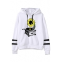 New Trendy White Stripe Long Sleeve Gramophone Sunflower Printed Loose Hoodie