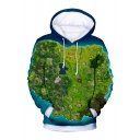 Popular Game Map 3D Printed Blue and Green Long Sleeve Casual Drawstring Hoodie