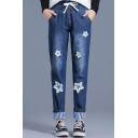 New Trendy Drawstring High Waist White Appliques Striped Contrast Cuff Pockets Straight Leg Jeans