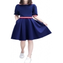 Womens Summer Short Sleeve Panelled 3-Stripe Pleated Dark Blue A-Line Mini Dress