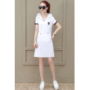 Womens Fashion Hoodie Short Sleeve 3-Stripe Pockets Midi Swing Sweatshirt Dress