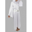 Womens Princess Leia Dress - Star Wars Hoodie Bell-Cuff Belt Costume white Cosplay A-Line Maxi Dress