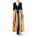 Womens Sexy V-Neck Half Sleeve Bow-Tied Waist Multi Striped A-Line Maxi Dress