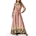 Moslem Fashion Round Neck Long Sleeve Boutique Floral Print Pink Swing Maxi Dress