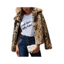 Women's Fashion Lapel Collar Leopard Printed Open Front Solid Faux Fur Outerwear Coat