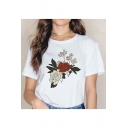 Popular Floral Printed Simple Short Sleeve White T-Shirt