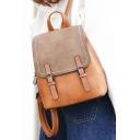 Womens Vintage Color Block Traveling Outdoor Bag Backpack 24*13*29cm