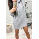 Womens Hot Hoodie Long Sleeve Ruched Plain Sheath Sweatshirt Midi Dress