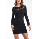 Womens New Trend Round Neck Long Sleeve Spiral Hybrid Panelled Black Sheath Midi Dress