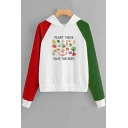 PLANT THESE SAVE THE BEES Letter Plant Printed Long Sleeve Color Block Pullover Hoodie