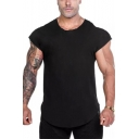 Mens Summer Solid Color Sleeveless Fitted Cotton T-Shirt