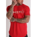 Mens Short Sleeve Round Neck HERO Crown Letter Printed Quick Drying Leisure Cotton T-Shirt