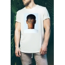 Stylish Short Sleeve Round Neck PALACE Letter Human Head Printed Loose Cotton T-Shirt