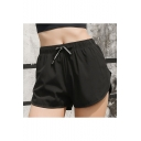 Chic Black Tied Waist Quick Drying Fake Two Piece Casual Loose Track Shorts