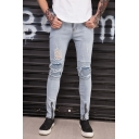 Men's Trendy Solid Color Knee Pleated Zippered Cuffs Light Blue Frayed Ripped Jeans