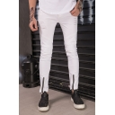 Men's New Fashion Simple Plain Knee Pleated Zippered Cuff White Frayed Ripped Biker Jeans